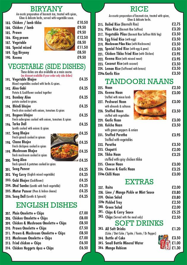 Indian Takeaway Menu Indian Delivery Menu Cinnamon Spice